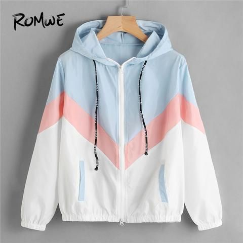 Romwe Womens Collar Button Down Colorblock Long Sleeve Casual Jacket Outwear with Front Pockets