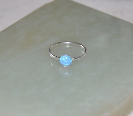 Stacking Ring, Opal Ring, Silver Ring, Gemstone Ring, Blue Opal, Australian Opal, 925 Sterling Silver, sizes 6.5, 7.5, Opal Jewelry