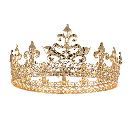 GOLD Rhinestone Crown Wedding Pageant Prom Queen King Cake Topper Decoration C8