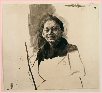 kathe kollwitz  Self-portrait en face, laughing, 1888/89: