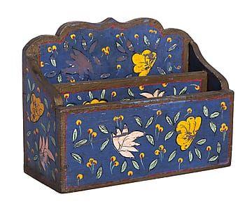 Organizador de cartas en madera de mango - azul