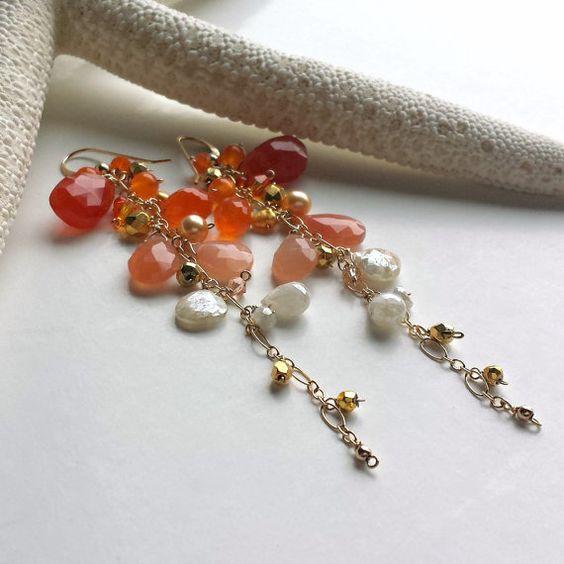 Orange Cluster Earrings Peach Moonstone by BellaAnelaJewelry