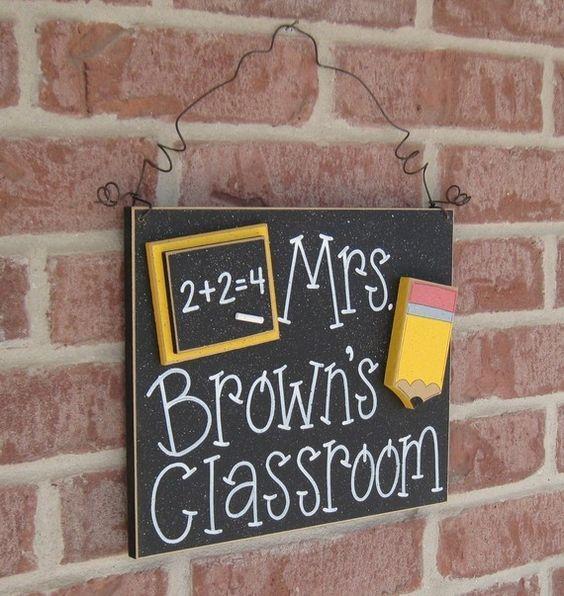 Custom Teacher Personalized Name or Word Sign for children, home, desk, shelf, decor. $24.50, via Etsy.