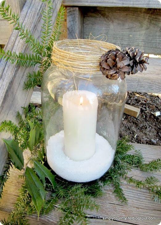 too cute! glass jar candle holder