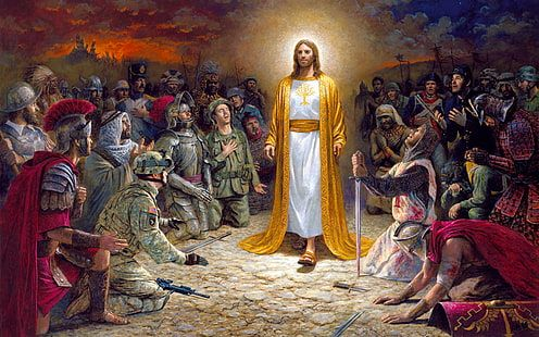 Jesus Christ Soldiers Praying Before The Lord For The Sins Committed 4k Ultra Hd Desktop Wallpapers For Compute Pinturas Cristas Catolico Sacramento Do Batismo