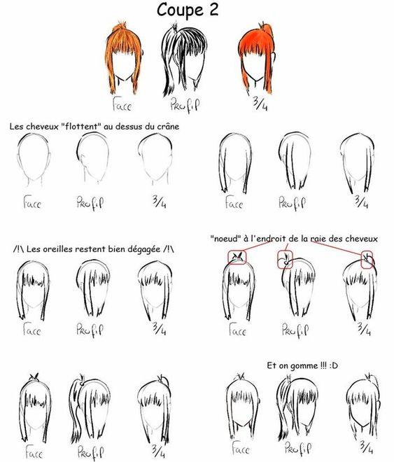 tutoriel dessin n 9 les diff rents coupes de cheveux femme projets essayer pinterest. Black Bedroom Furniture Sets. Home Design Ideas
