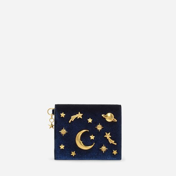 CHARLES & KEITH - Bags. Navy snap button cardholder featuring galaxy inspired embellishments and a star charm.