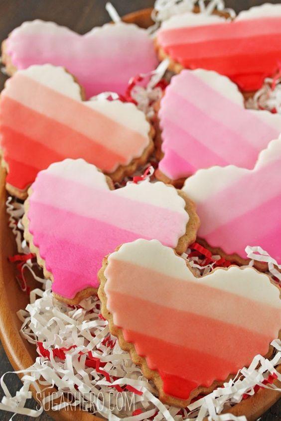 Brown Butter Heart Cookies...: Cookies Valentines, Heart Cookies, Butter Heart, Cookie Recipe, Valentines Day, Hearts Cookie, Ombre Heart, Brown Butter Cookies, Fondant Recipe