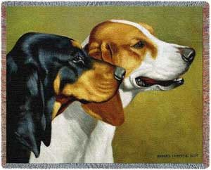 Coon Hounds Throw Blanket. Dog Lover Throw Blankets. Bob Christie's composition is picture perfect in the Coon Hounds throw blanket. Handsome looking hounds smartly before the hunt. This is another great gift for the dog lover in your life.