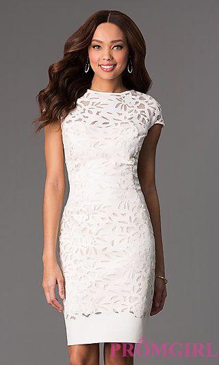 Knee Length Cap Sleeve Dress at PromGirl.com