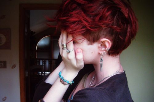 red pretty short shaved hair - Super cute style for when I start growing the top out!