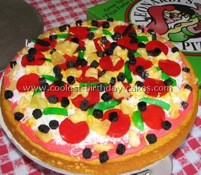 Cake Decorating Tips For Pizza Shaped Cakes This Is My Jello Jiggler Pepperoni And Green Peppers Licorice Olives Dried Pineapple Coconut Cheese