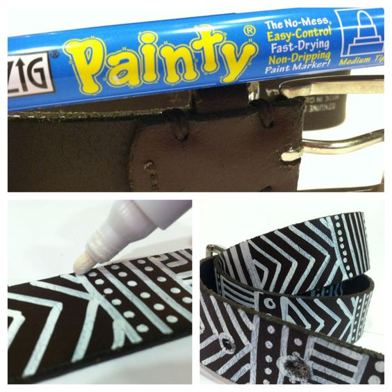 DIY tribal print belt: get a cheap belt at a thrift store and draw on it with paint pen! What an awesome idea! I will definitely be trying this!