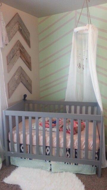 Baby Girl Nursery Room Blush Pink Mint Green Navy Blue