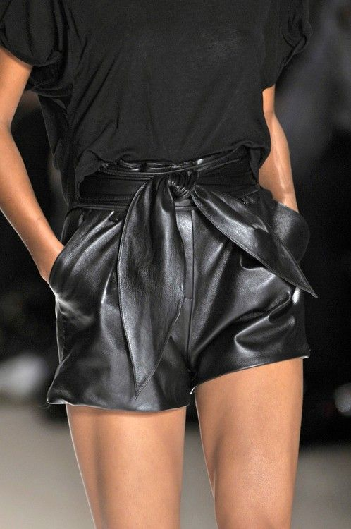 Nothing like a pair of leather high waisted shorts with a tie-belt ...