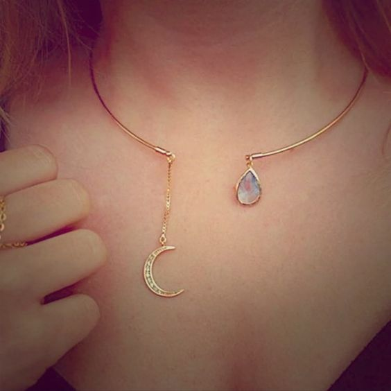 Moon Crystal Tear Drop Collar Necklace