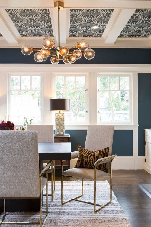 Modern Blue Dining Room With White Trim And Wallpaper On The Ceiling Jack Ryan Design Dining Room Wallpaper Dining Room Colors Dining Room Blue
