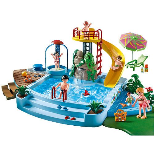 Playmobil toboggan de piscine and piscines on pinterest for Piscine playmobil