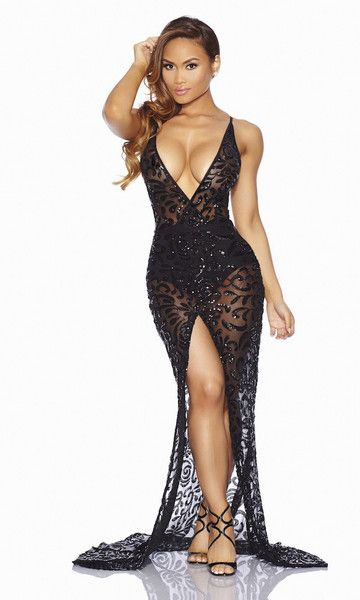 Sheer Sequin Dress - Dress Xy