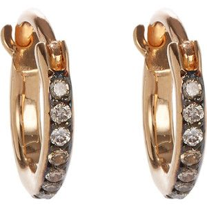 Ileana Makri Champagne Diamond & Pink Gold Mini Hoops