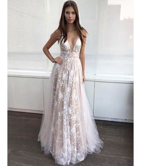Champagne A-Line V-Neck Appliques Long Prom Dress Modest Tulle ...
