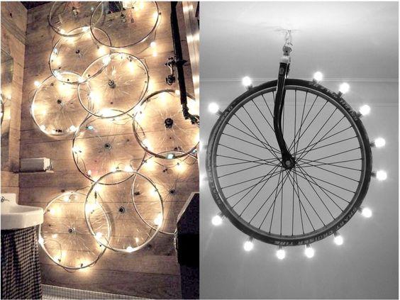 lámparas con ruedas de bicicleta