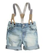 Check this out! 5-pocket shorts in soft washed denim with mended, distressed details. Adjustable elasticized waistband, zip fly with snap fastener, and detachable elastic suspenders with imitation leather details. - Visit hm.com to see more.