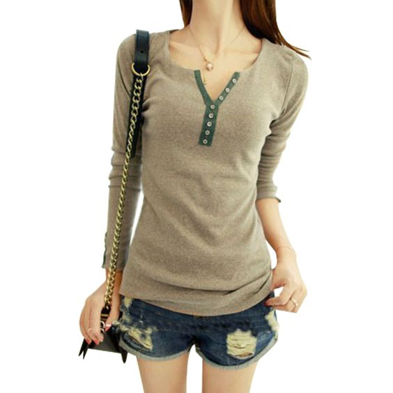 Encontre mais Camisetas Informações sobre T shirt mulheres 2015 nova coreano senhoras botão de manga comprida v neck cintura das mulheres primavera camiseta de algodão 9533, de alta qualidade Camisetas de Brazil Moda em Aliexpress.com