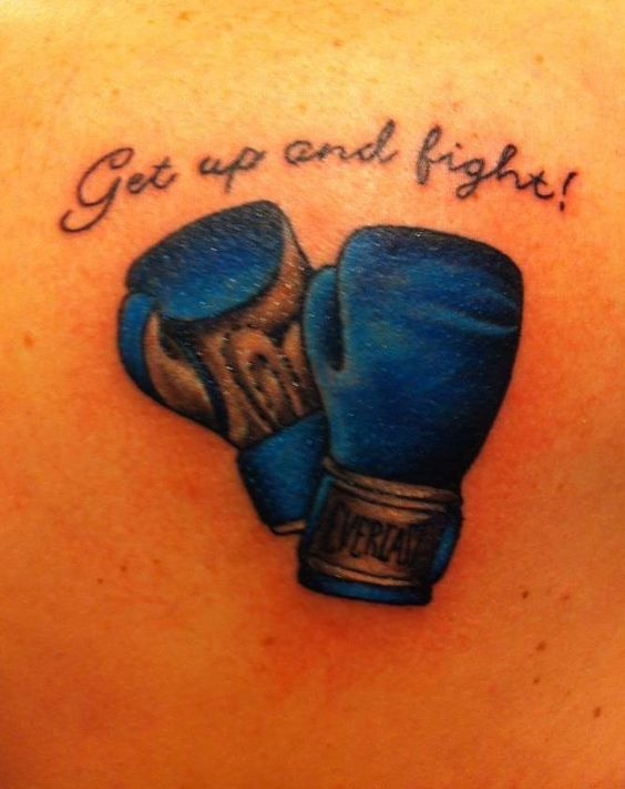 Get up and fight. Muhammad Ali quote with Everlast boxing gloves.