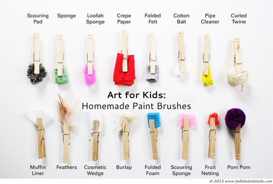 Homemade paint brushes -- try them out, then invent others! #homeschool www.oakmeadow.com:
