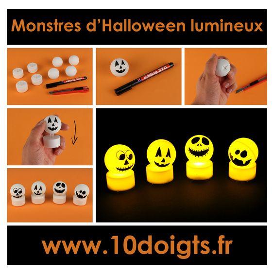 Créez simplement des petits monstres lumineux pour Halloween avec : - des balles de ping pong - des bougies électriques - un marqueur permanent - un cutter #Bricolage #Halloween #enfants #loisirscréatifs #DIY #Craft #Kids