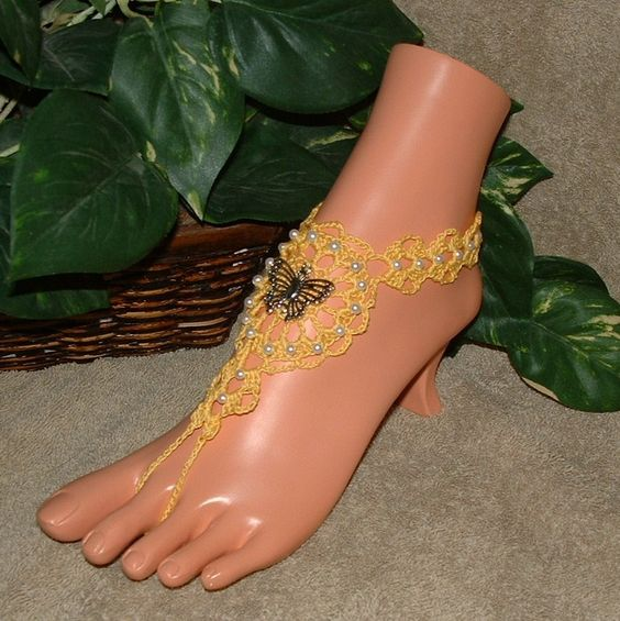 Crochet Barefoot Sandals Butterfly Jewelry Sandles Shoes Toe Rings Anklets