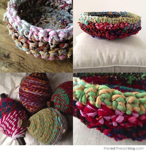 Diy Rag Rug Basket: Crochet Baskets, Baskets And Ropes On Pinterest