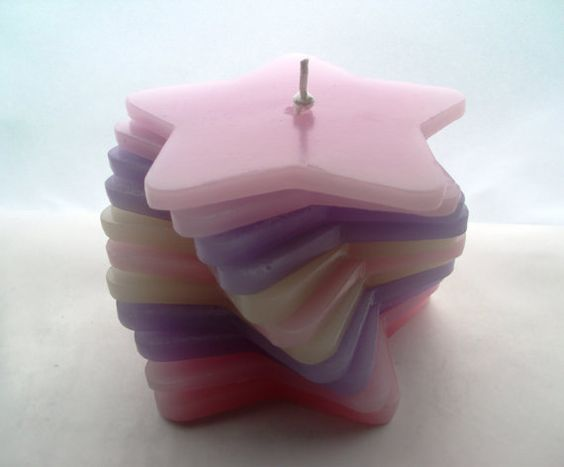 Pale Pink Purple and Cream Stripy Stacking Candle. by Quacraft, £9.99