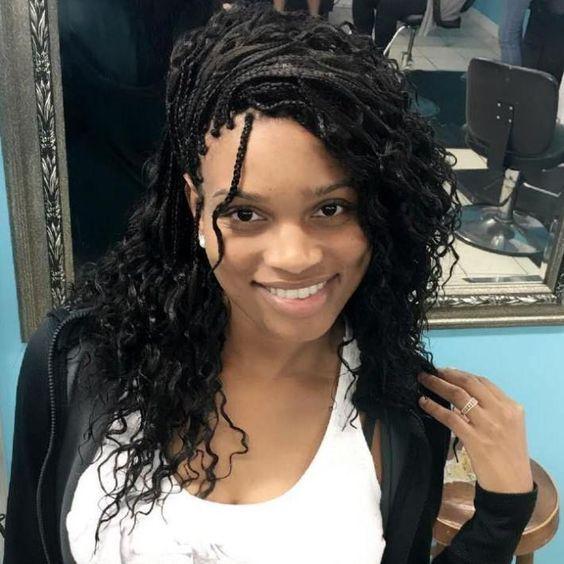 Side Swept Micro Braids With Curls #beautifulghanabraids