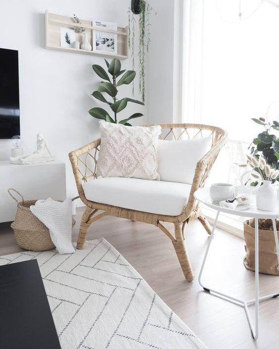 Pelangi Handmade Rattan Dining Wicker Chair W Cushion White Wash Homedecore Homeinspo Furniture Home Decor Home Living Room Home