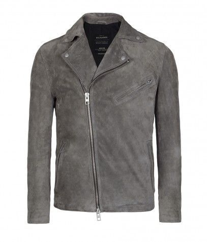 All Saints, Mens, Mid Grey Crawley Calf Suede Biker Jacket, BRAND ...