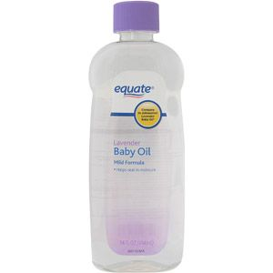 Equate: Baby Oil Lavender-  Rub it on2 damp skin right out of the shower 2 trap in moisture & keep skin soft (love the subtle scent of this one).  It's also awesome for removing leftover eye makeup (dab a little on a cotton ball).  & because its just scented mineral oil, in a pinch, u can use it as a quick spot polish on granite or wood surfaces.