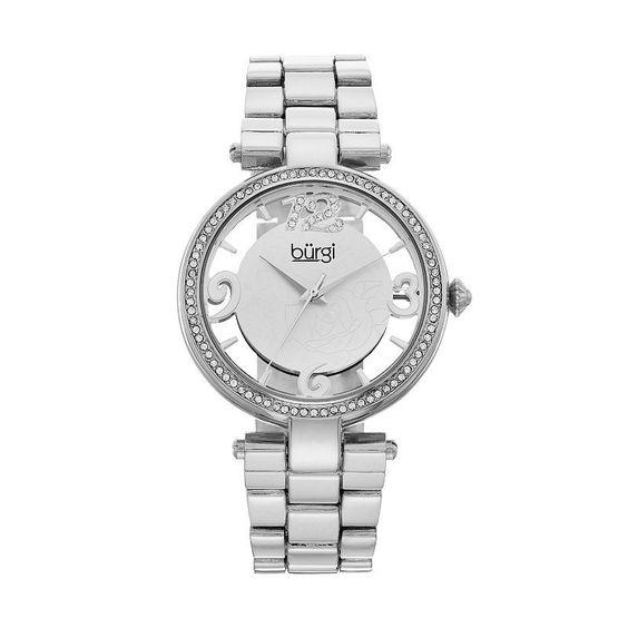 burgi Women's Crystal Floral Watch,