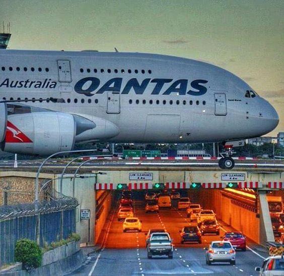 "Qantas Airbus A380-842 VH-OQI ""David Warren"" passes over General Holmes Drive towards the threshold of Runway 34L at Sydney's Kingsford Smith International, circa 2015."