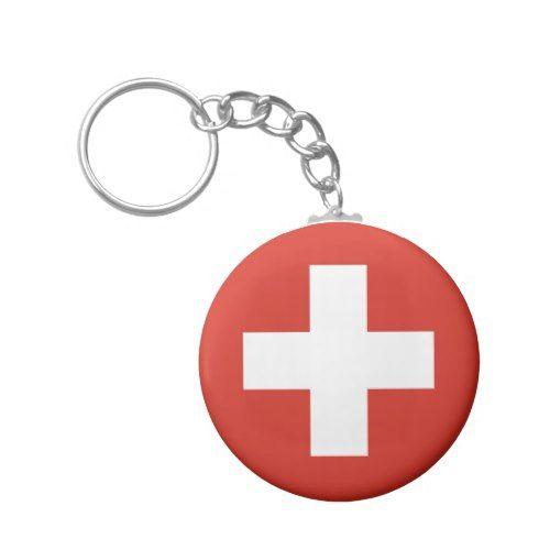 Swiss Flag Red Cross Keychain Zazzle Com Cross Keychain Switzerland Flag Custom Keychain
