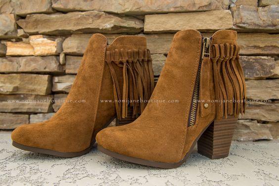 Fringe Benefits Bootie in Cognac ~ $39.95 #booties #shoes #love #style #shopNJB #onlineshopping #fallfashion #followme Shop Now > http://nomijaneboutique.com/collections/shoes/products/fringe-benefits-bootie-cognac?variant=10243386500