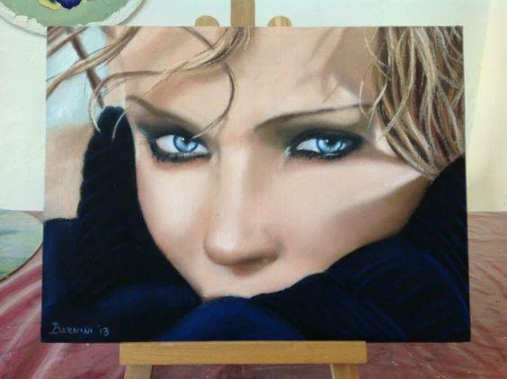 "Pastello su tela 40x30 ""Kylie"" www.sfumature3.it"