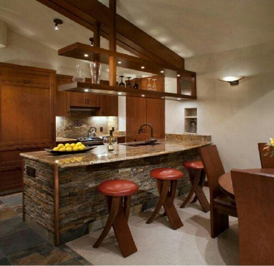 Desayunador rustico desayunadores y barras pinterest for Banquetas para barra de cocina