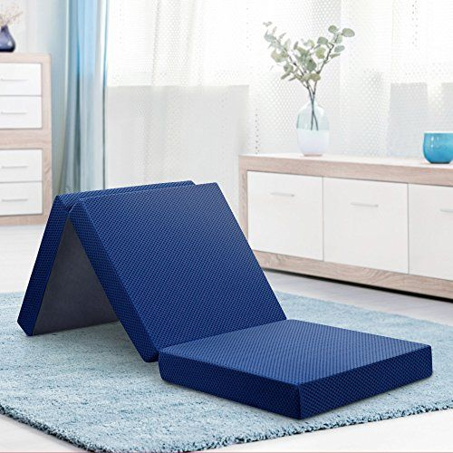 Olee Sleep Tri Folding Memory Foam Topper 4 H Blue For Product Price Info Go To Https All Memory Foam Topper Folding Foam Mattress Folding Mattress
