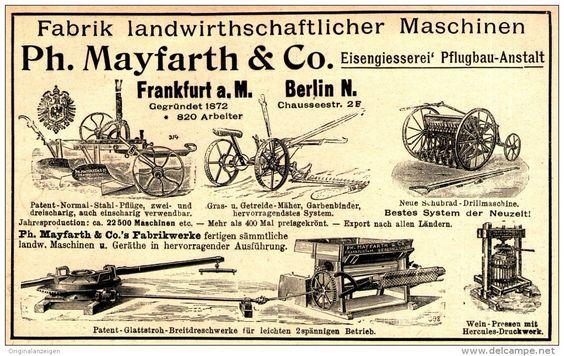 Original-Werbung/ Anzeige 1899 -  LANDWIRTSCHAFTLICHE MASCHINEN/ MAYFARTH & CO. BERLIN /FRANKFURT - ca.170 x 110 mm