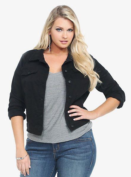 plus size black jean jacket - Jean Yu Beauty