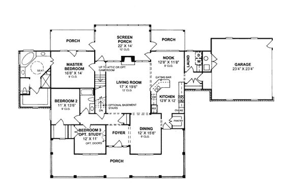First Floor Plan of Country   Southern   House Plan 68174