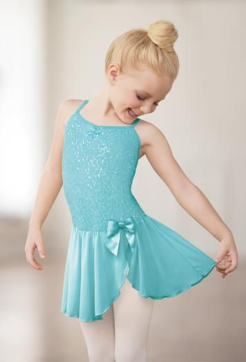 This iridescent sequin cami dress is perfect for her next recital.