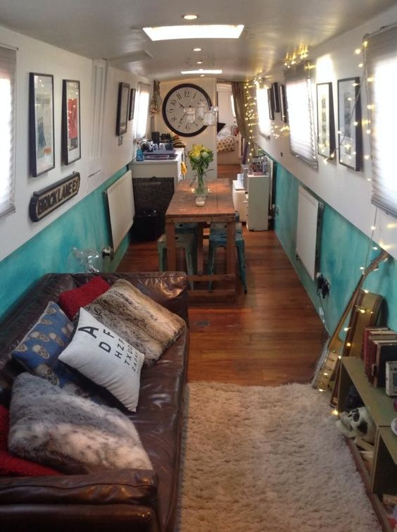 bohemian narrowboat houseboat interior design